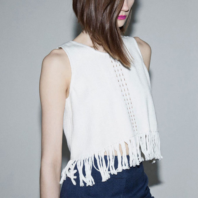 VOZ Cropped Woven Fringed Tank Top