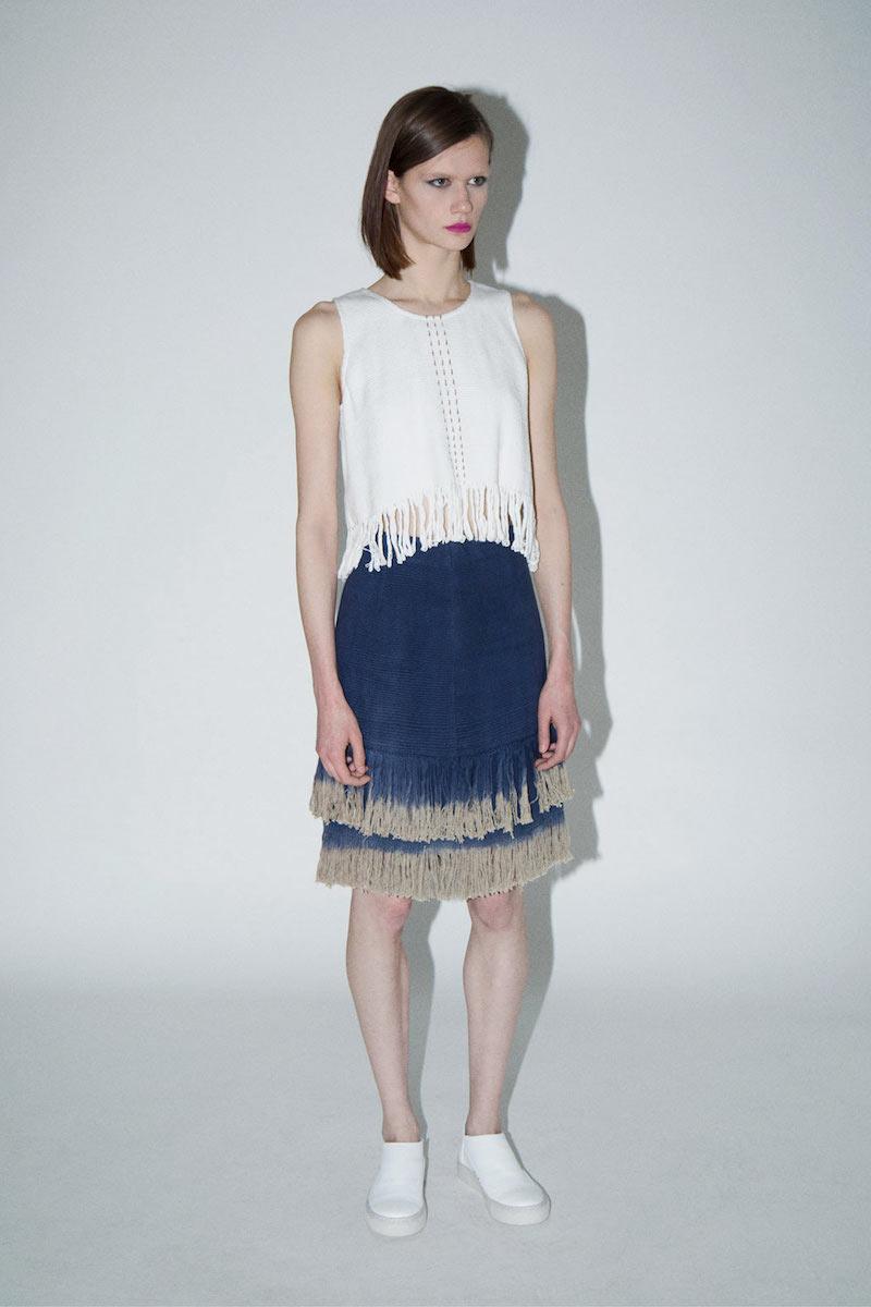 VOZ Woven Dip Dye Fringed Skirt