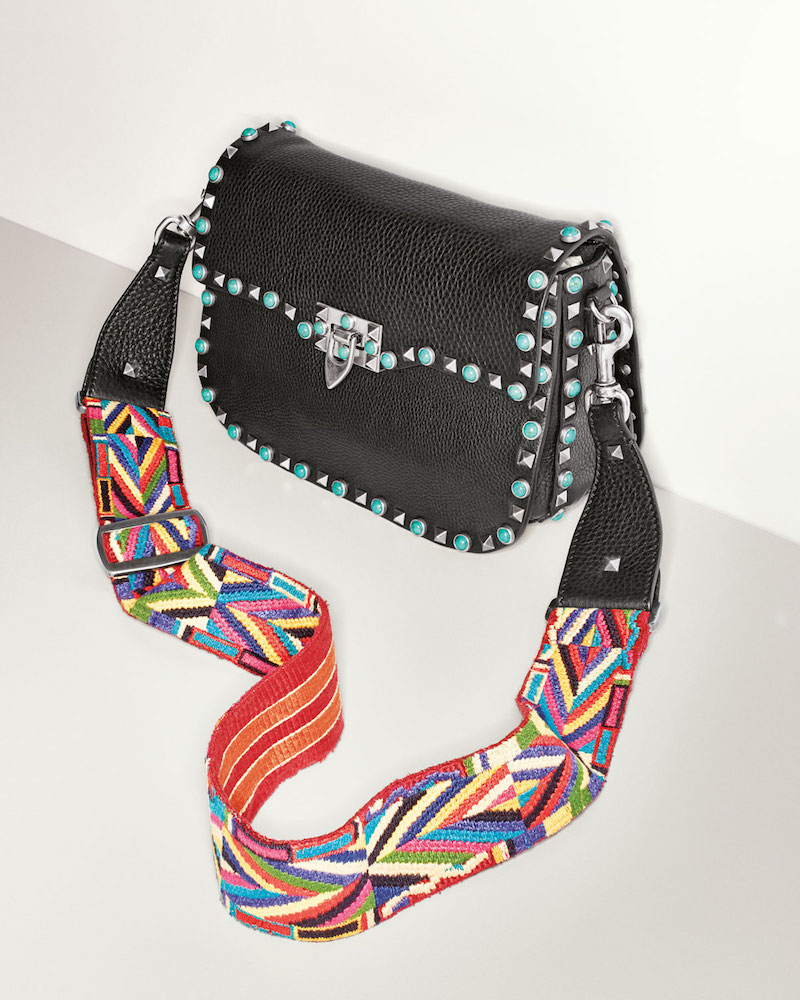 Valentino Rockstud Turquoise-Stud Saddle Bag with Embroidered Strap