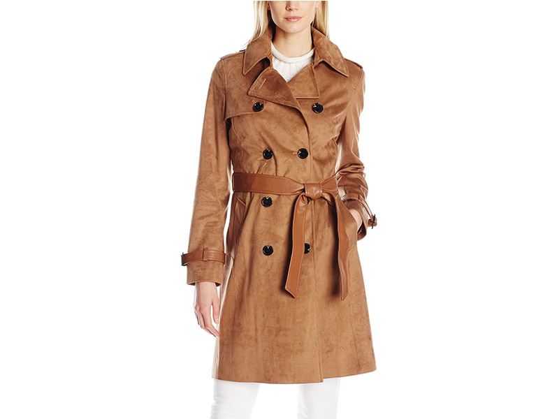 Via Spiga Faux Suede Double Breasted Trench Coat