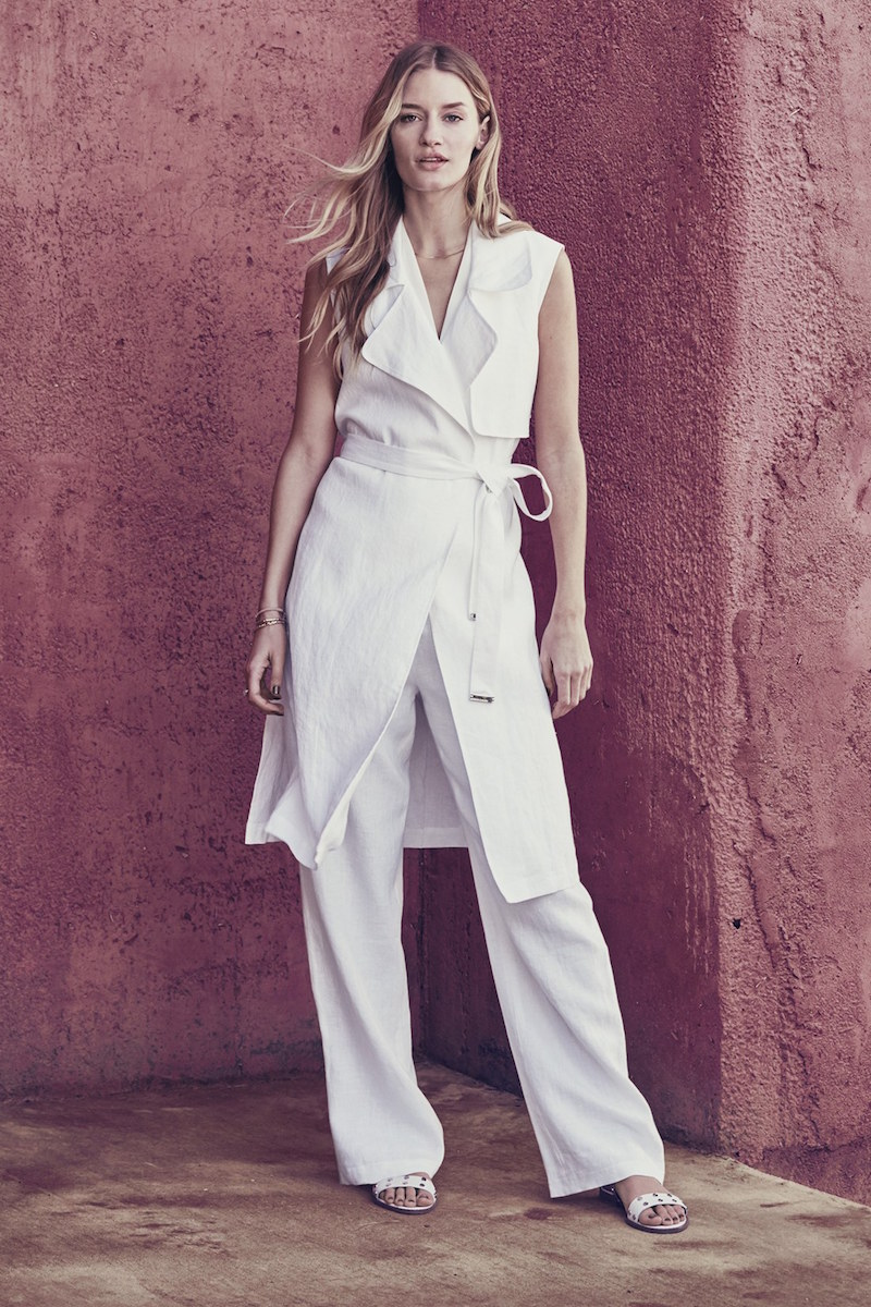 Vince Camuto Belted Sleeveless Linen Duster