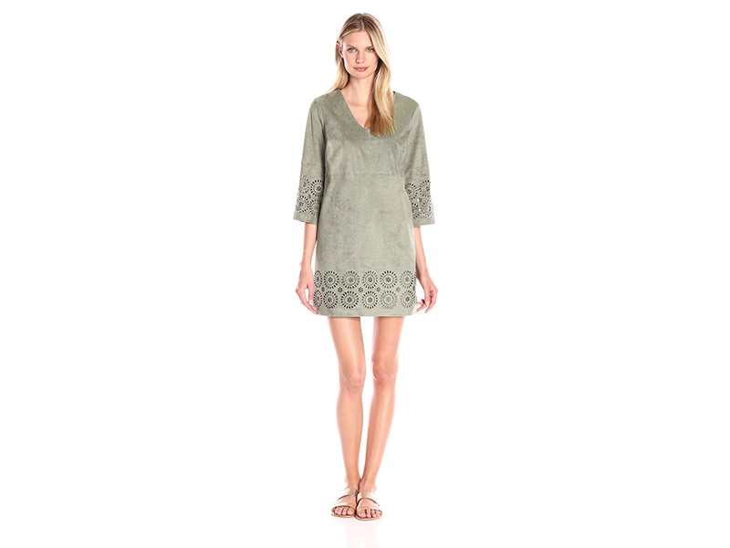 Vince Camuto L/S Laser Cut Faux Suede V-Nk Dress