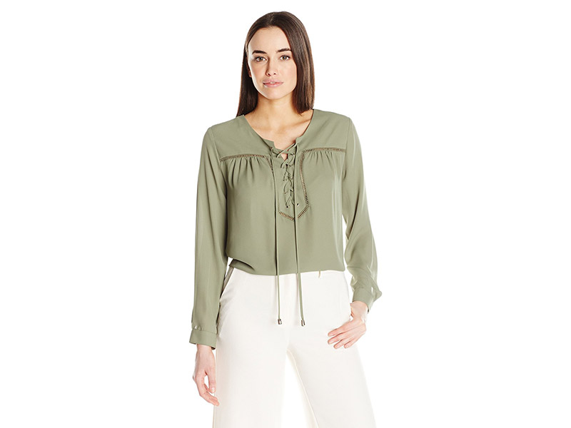 Vince Camuto Long-Sleeve Lace-Up Blouse with Ladder Stitching