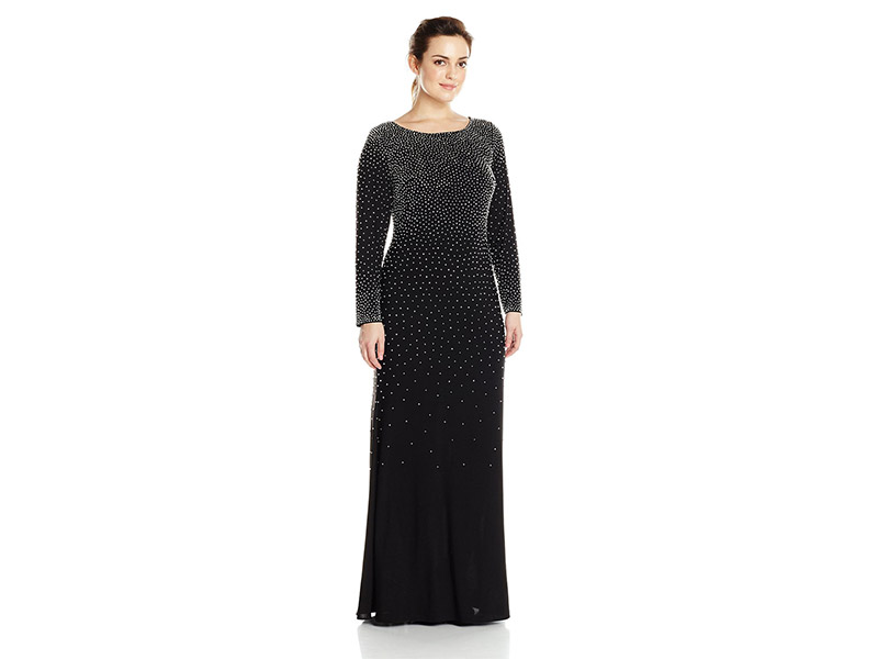 Xscape Plus-Size Long Beaded Dress