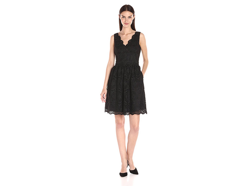 Adrianna Papell Vneck Sleeveless Fit and Flare Lace Dress