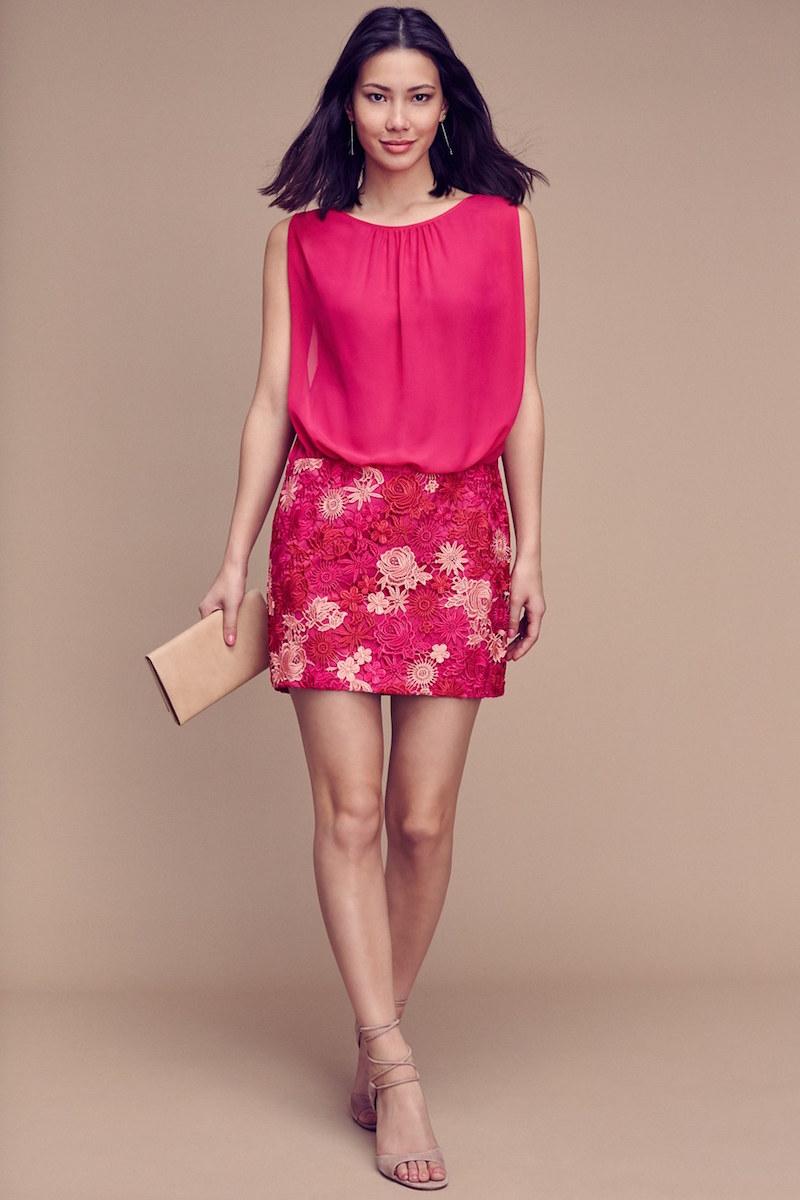 Aidan by Aidan Mattox Chiffon & Lace Blouson Dress