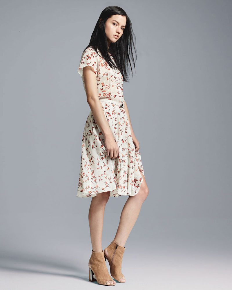 Akris Short-Sleeve Karminspint Bird-Print Belted Dress