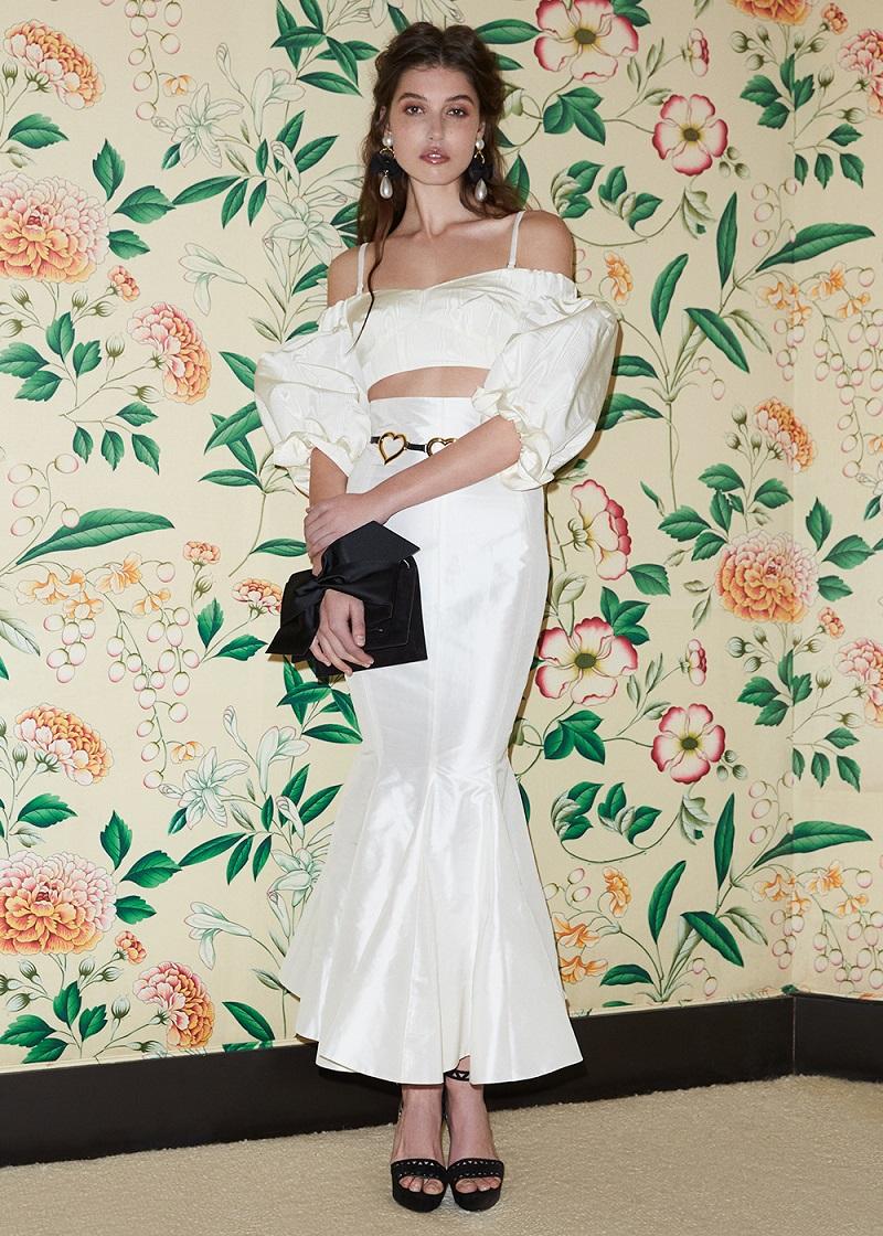 Alessandra Rich Silk Moire Balloon Sleeve Bralette