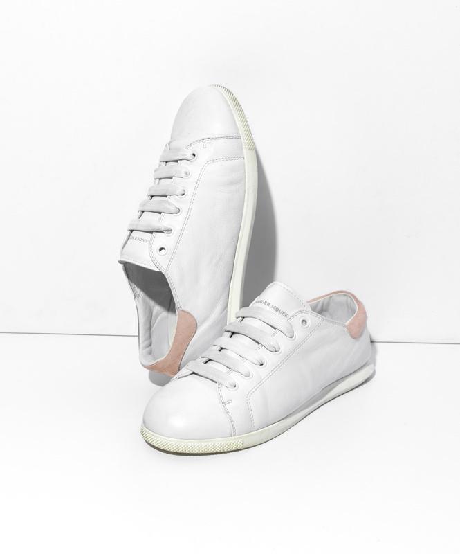 Alexander McQueen Leather Single-Sole Sneakers