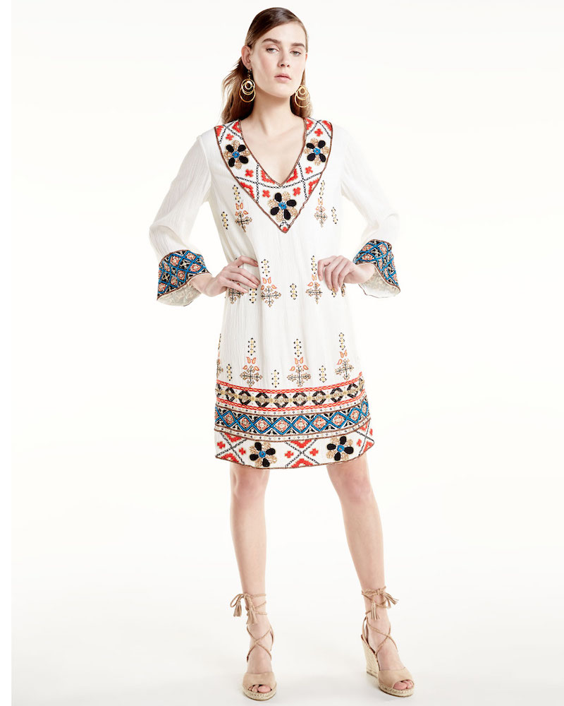 Alice + Olivia Ray Embroidered Mini Dress