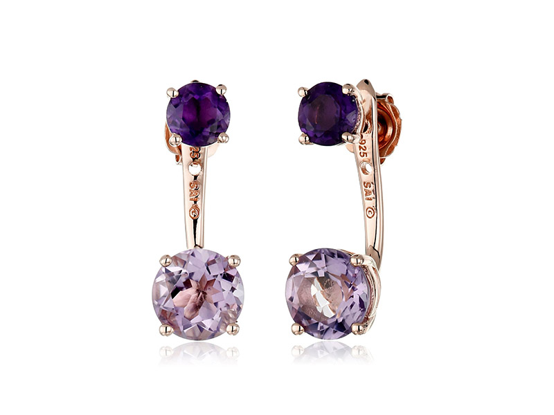 Amazon Collection Sterling Silver with Pink Gold Plating Rose De France and Amethyst Earrings