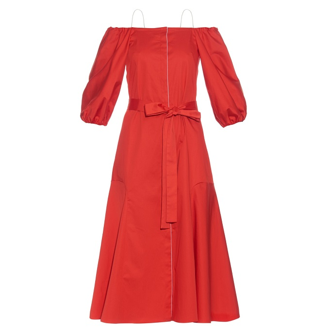 Anna October Liv off-the-shoulder cotton-blend poplin dress