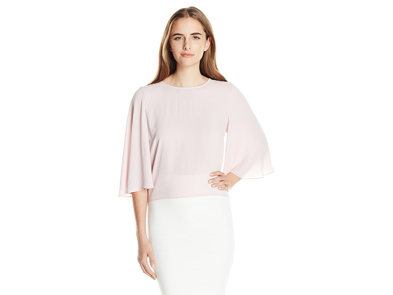 BCBGMAXAZRIA Eliana 3/4 Sleeve Top with Tied Back