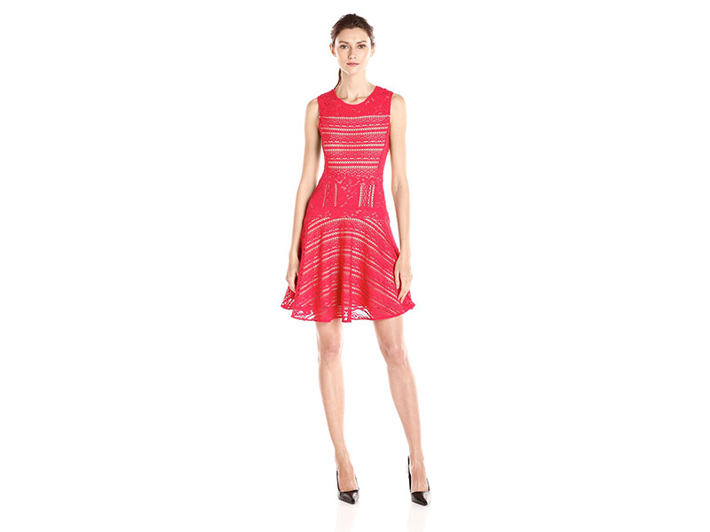 BCBGMAXAZRIA Jalina Lace-Blocked Sleeveless Dress