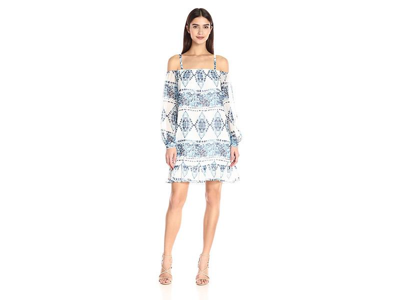 BCBGeneration Blue Combo Off-Shoulder Dress