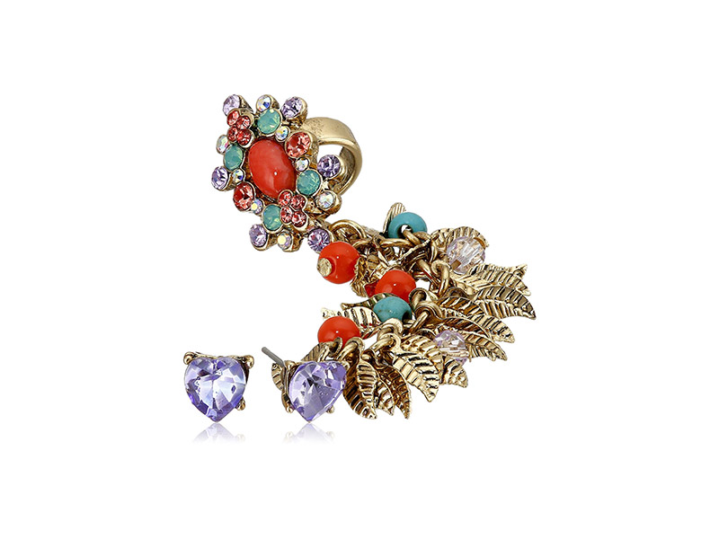 Betsey Johnson Betsey's Delicates Heart Stud and Shaky Mixed Bead Faceted Stone Crawler Earrings