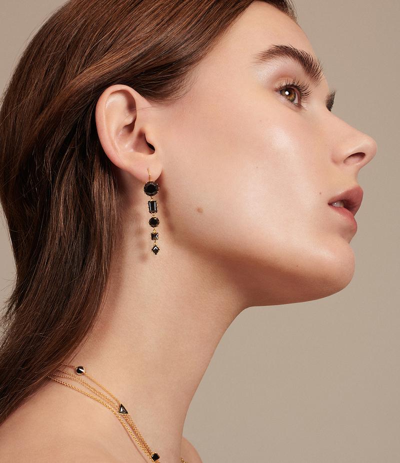 Renee Lewis Black-Diamond Drop Earrings