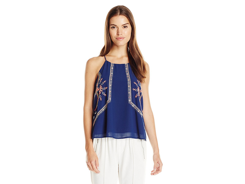 Blu Pepper Navy Woven Top with Spaghetti Straps and Neon Embroidery