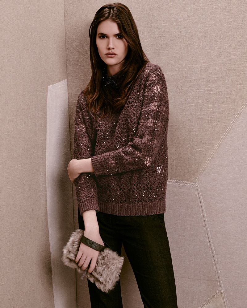 Brunello Cucinelli Embellished-Crochet Jewel-Neck Sweater