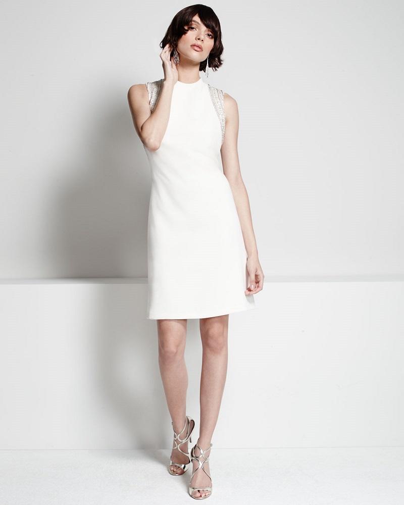 Carmen Marc Valvo Sleeveless Embellished Cocktail Dress
