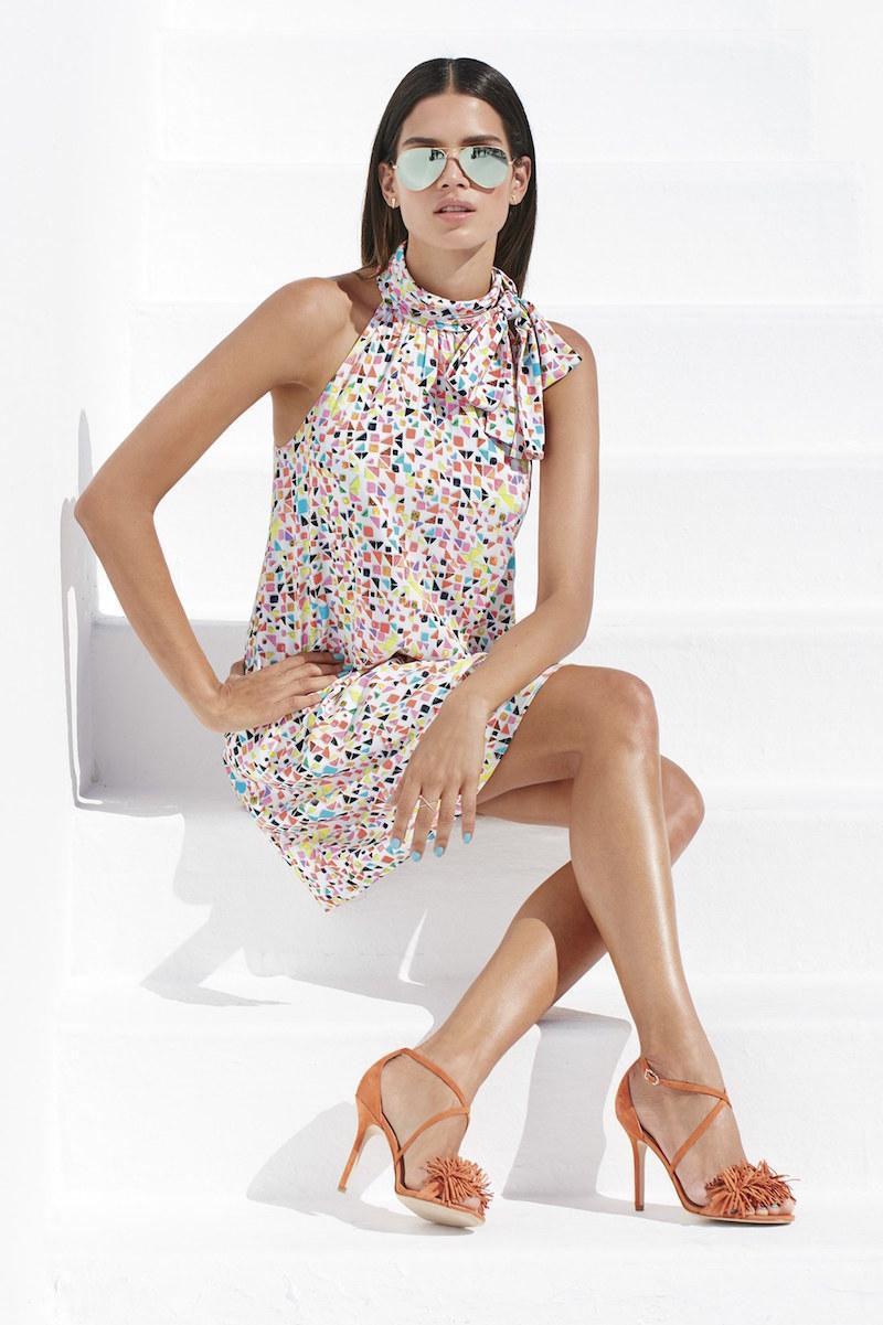 CeCe by Cynthia Steffe Candy Gems Print Tie Neck Shift Dress