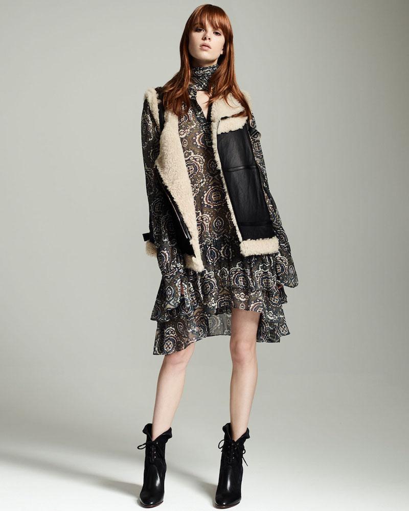 Chloé Long-Sleeve Tile-Print Tiered Dress