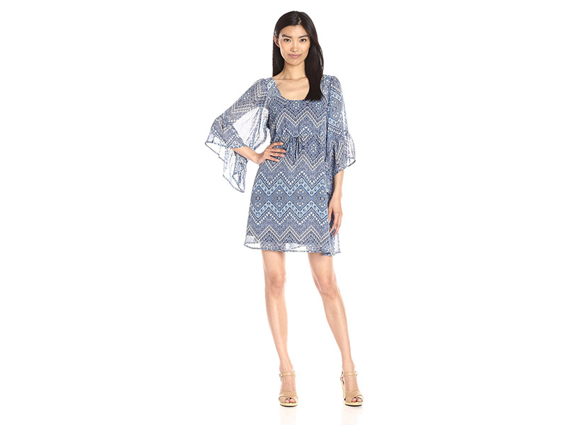 Collective Concepts Printed Dress with Flounce Sleeves