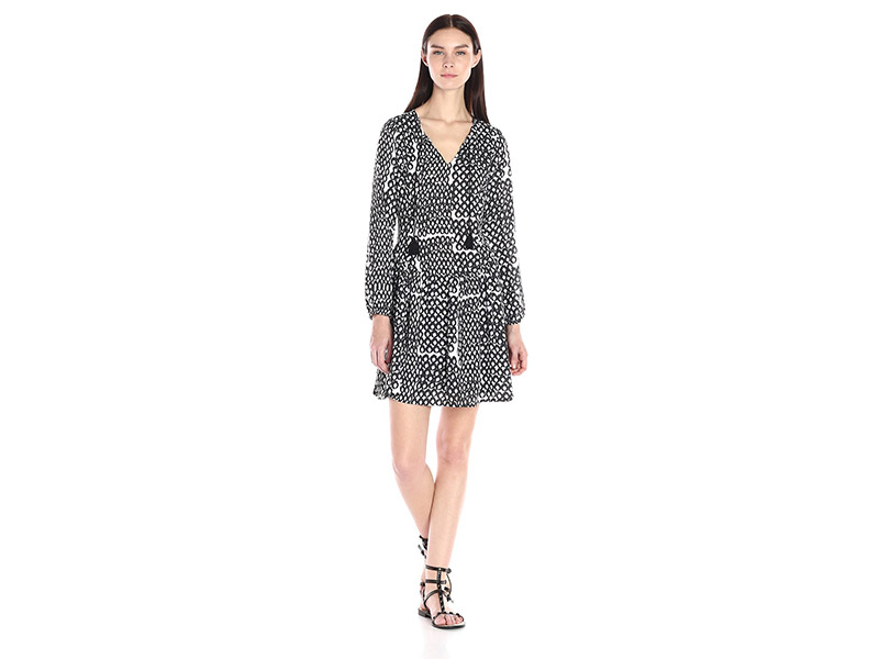 Collective Concepts Printed Peasant Dress with Tassel Detail