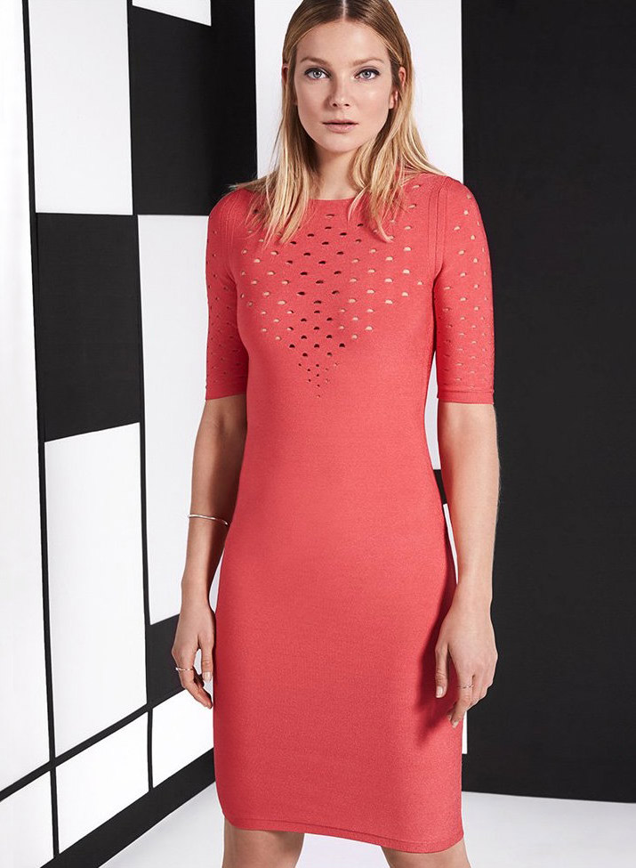 Cushnie et Ochs Short Sleeve Perforated Dress