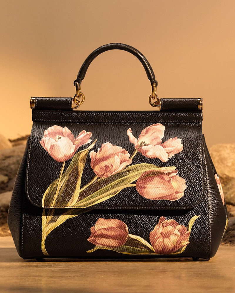 Dolce&Gabbana Small Miss Sicily Tulip Print Leather Satchel