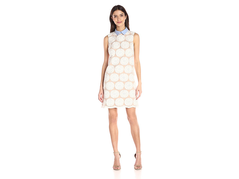 Donna Morgan Sleeveless Embroidered Organza Shift with Contract Collar