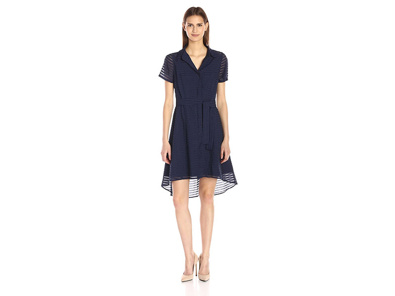 Donna Ricco Short Sleeve Fit and Flare Shirt Dress