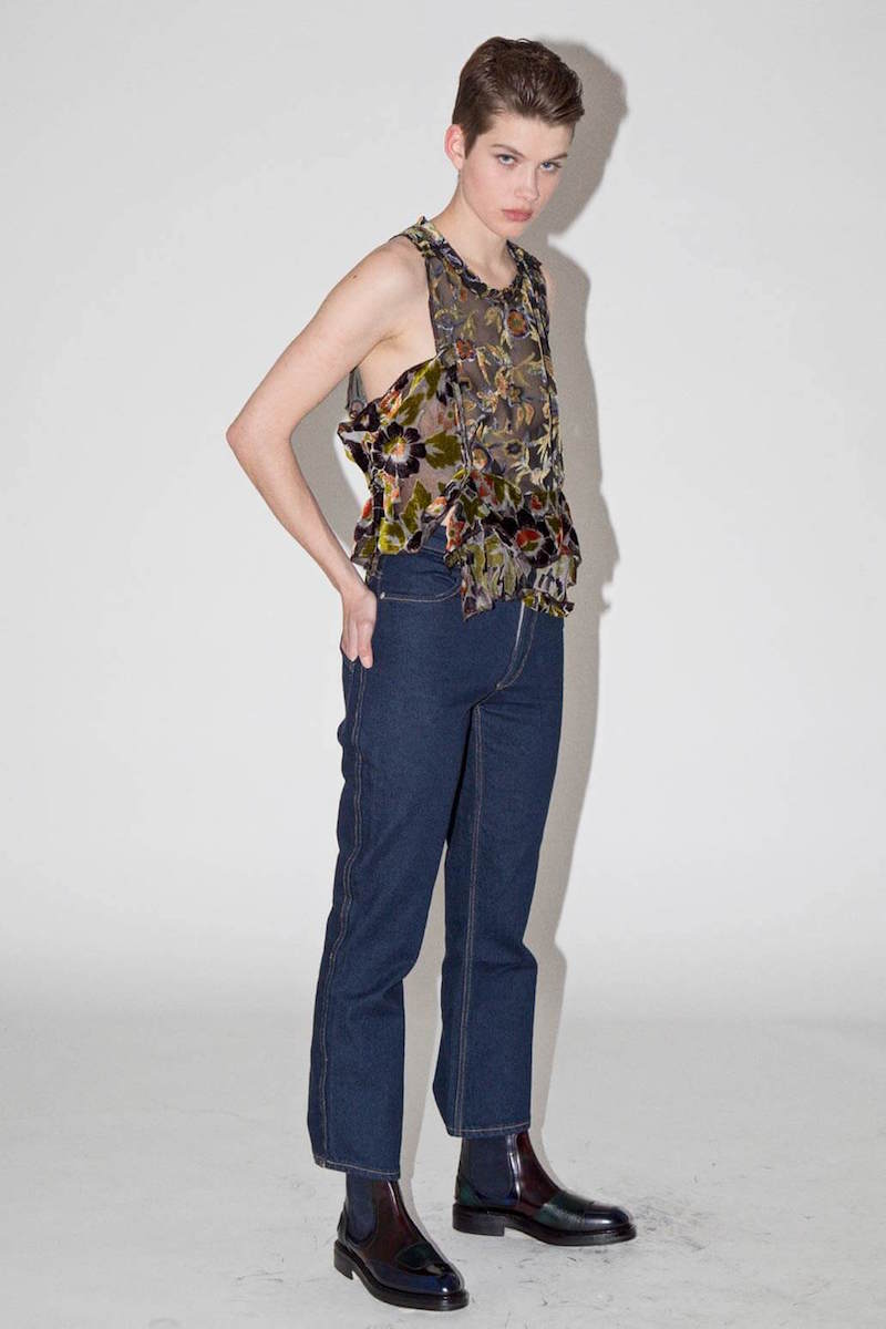 Eckhaus Latta Burnout Floral Ruffled Top