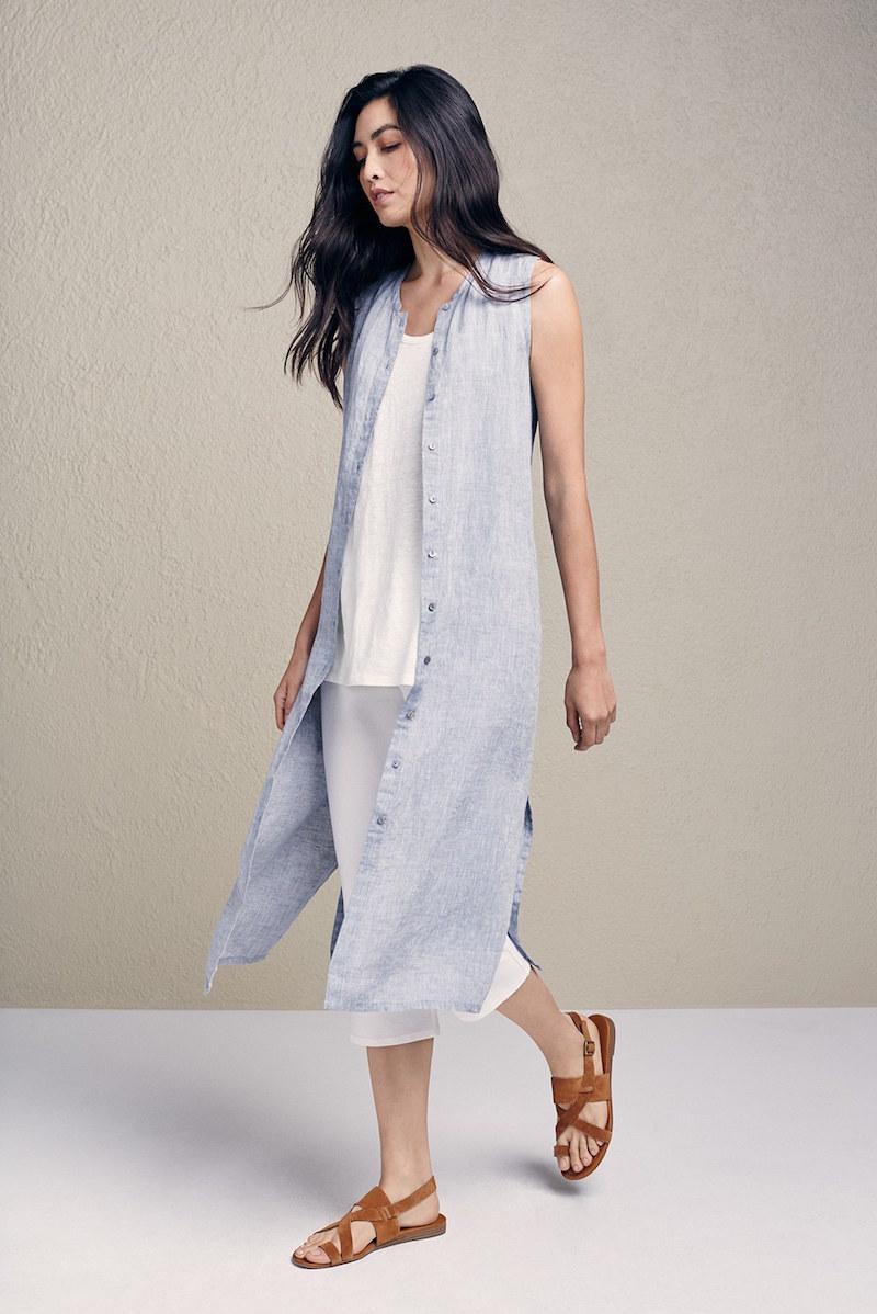 Eileen Fisher Mandarin Collar Linen Midi Shirtdress