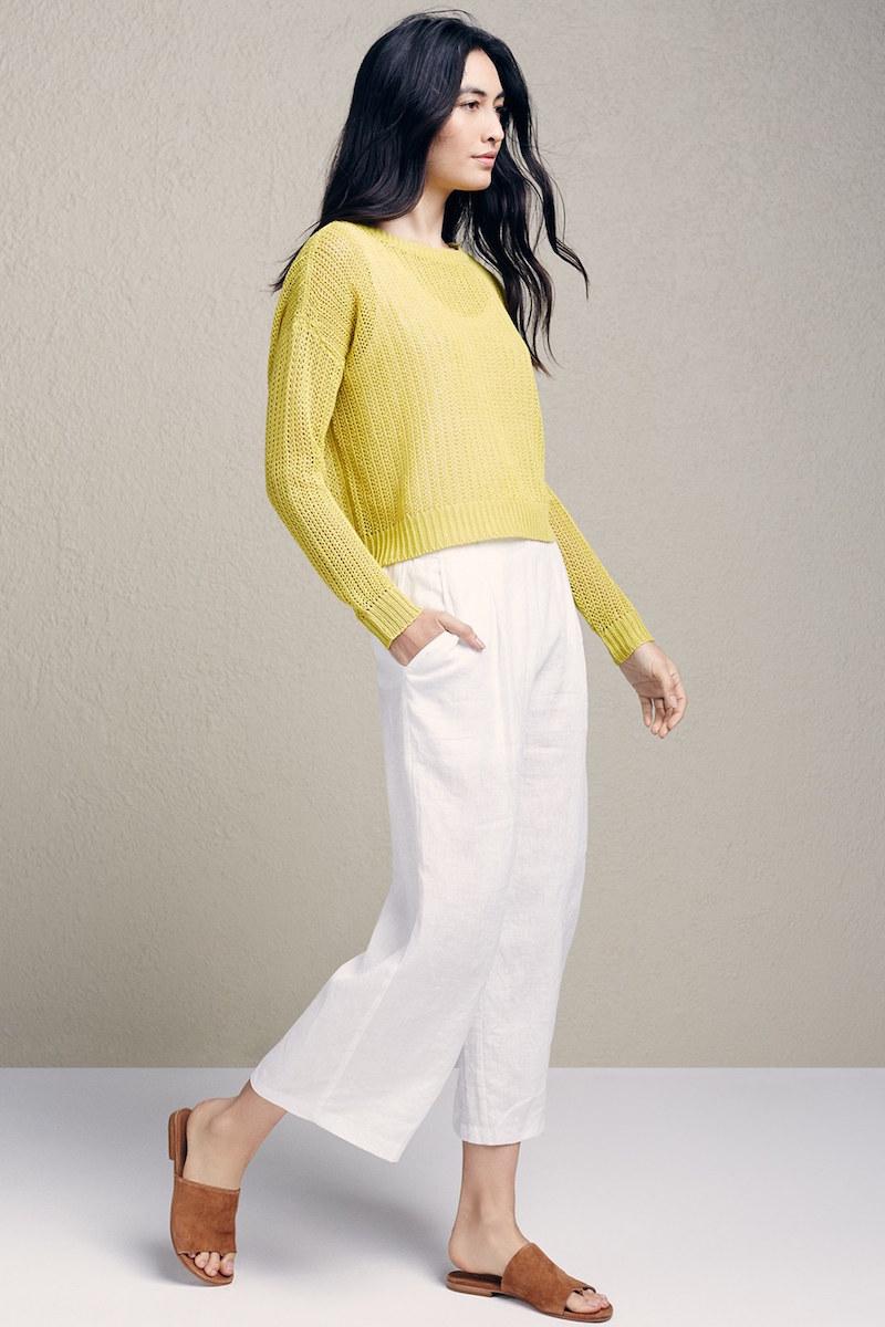 Eileen Fisher Organic Linen Crop Wide Leg Pants