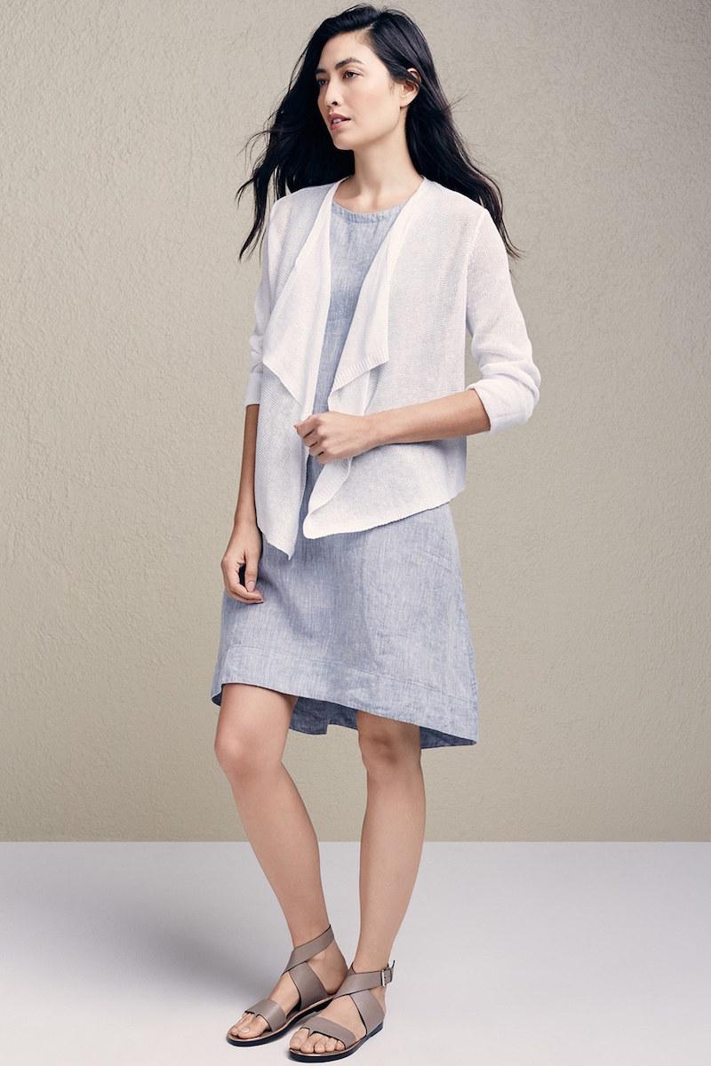 Eileen Fisher Organic Linen Drape Front Cardigan