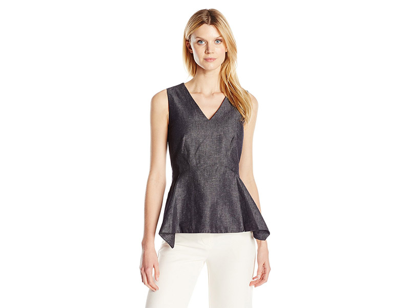 Ellen Tracy Handkerchief Peplum Shell