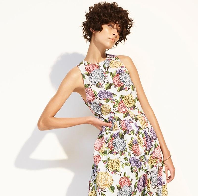 Emilia Wickstead Olive hydrangea-print dress