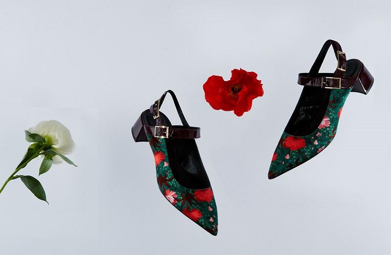 Erdem Aerin carnation-print satin sandals