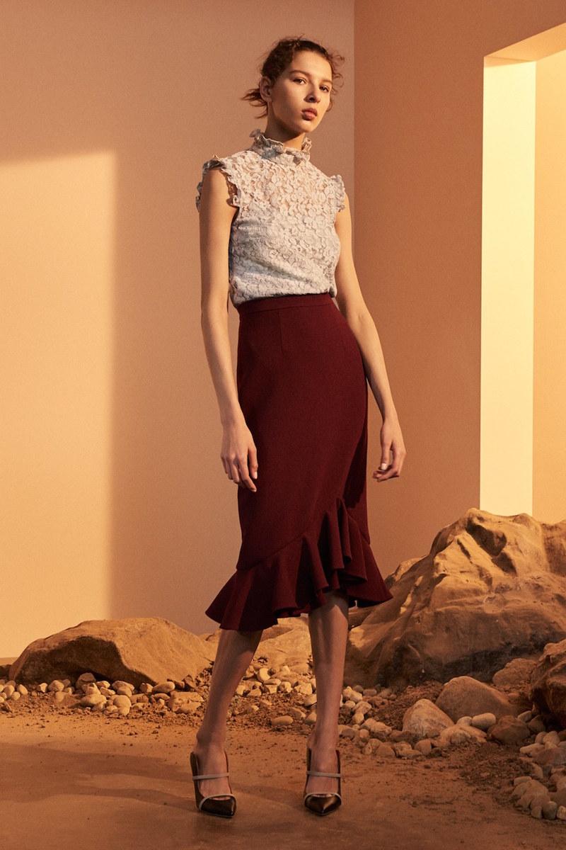 Erdem Joss Wool Crepe Asymmetric Ruffle Hem Skirt