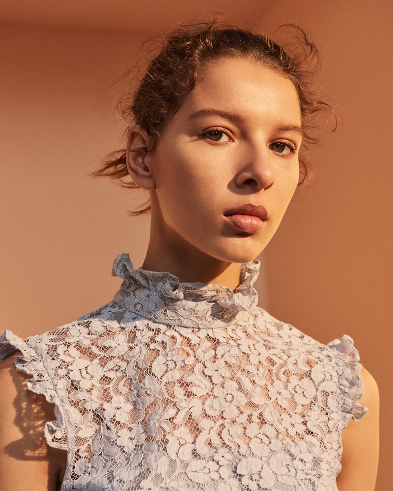 Erdem Mika Floral Lace High Collar Blouse