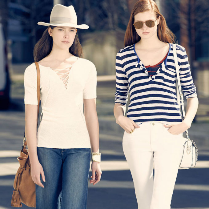 FRAME DENIM Le Nautical Striped Linen Henley Top