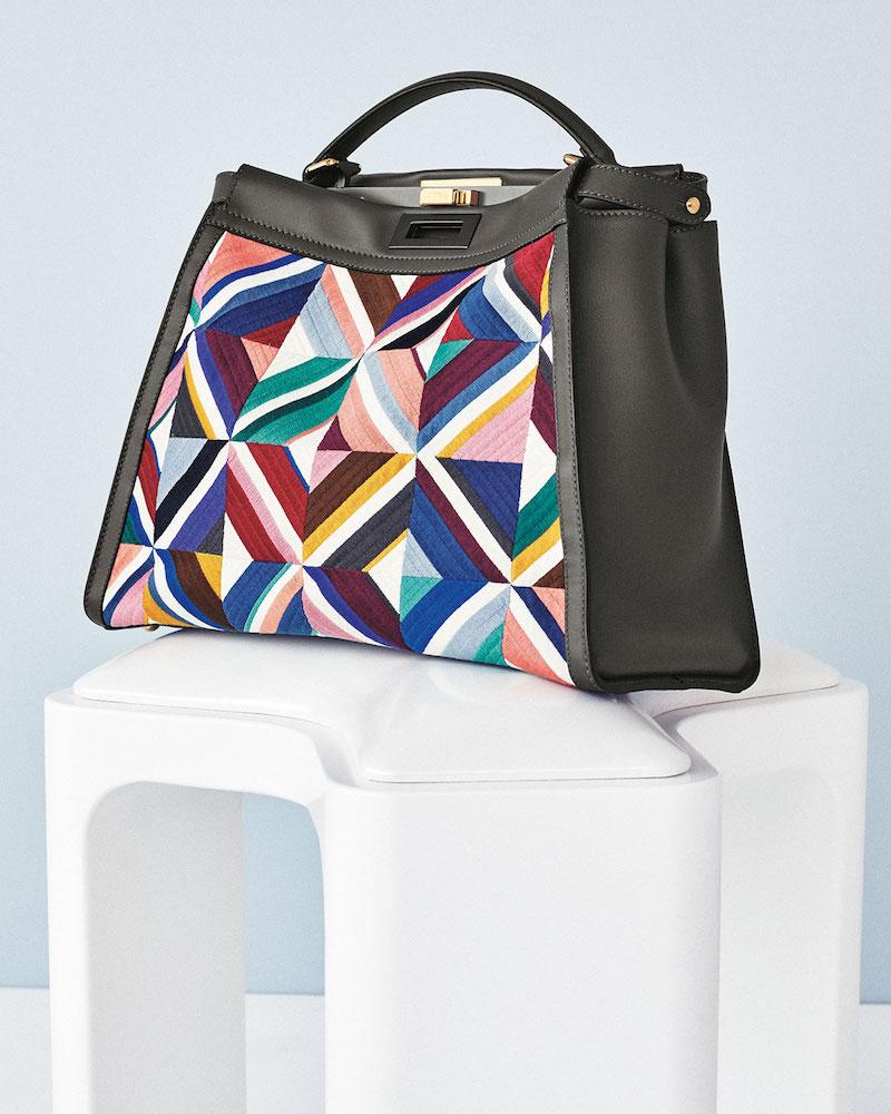 Fendi Large Quilted Geometric Peekaboo Satchel Bag