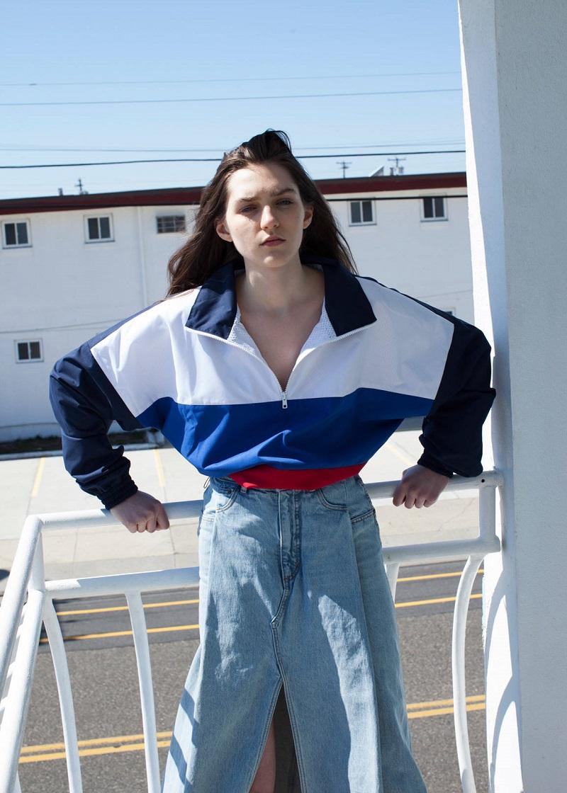 Gosha Rubchinskiy Navy & Tricolor Zip Collar Sport Jacket