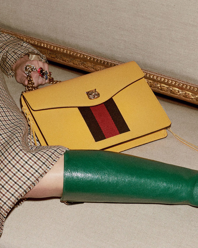 Gucci Animalier Leather Shoulder Bag in Yellow