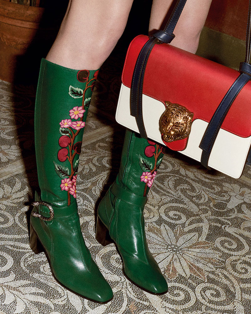 Gucci Dionysus Embroidered Knee Boot - Emerald