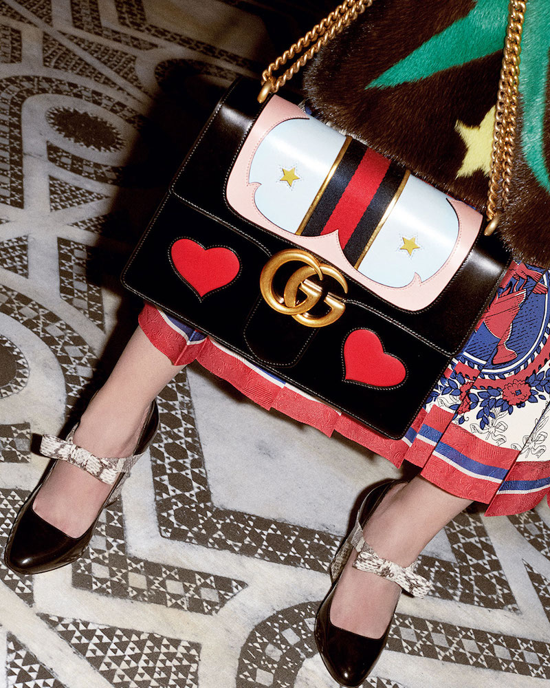 Gucci GG Marmont Medium Web Heart Shoulder Bag