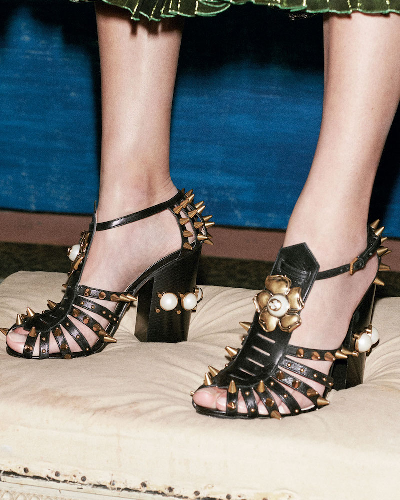 Gucci Kendall Leather Studded Sandal