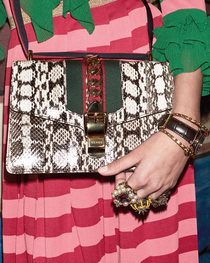Gucci Sylvie Small Snakeskin Shoulder Bag