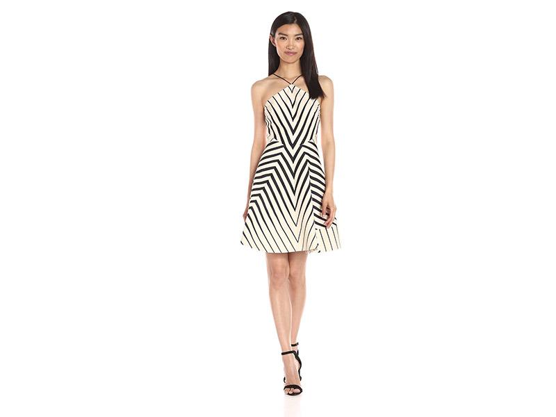 HALSTON HERITAGE Sleeveless Halter Neck Printed Structured Dress